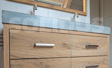 badkamermeubel hout en beton